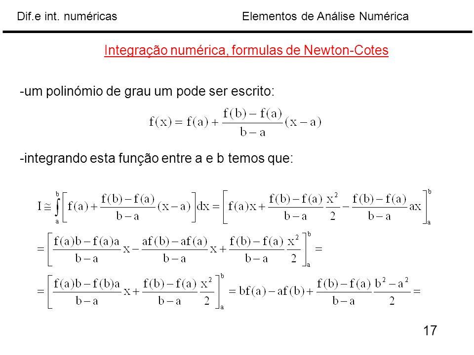 Elementos de Análise NuméricaDif.e int. numéricas Integração numérica, formulas de Newton-Cotes -um polinómio de grau um pode ser escrito: -integrando