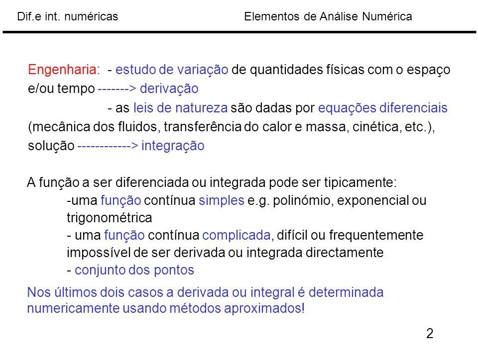 Elementos de Análise NuméricaDif.e int. numéricas A função a ser diferenciada ou integrada pode ser tipicamente: -uma função contínua simples e.g. pol