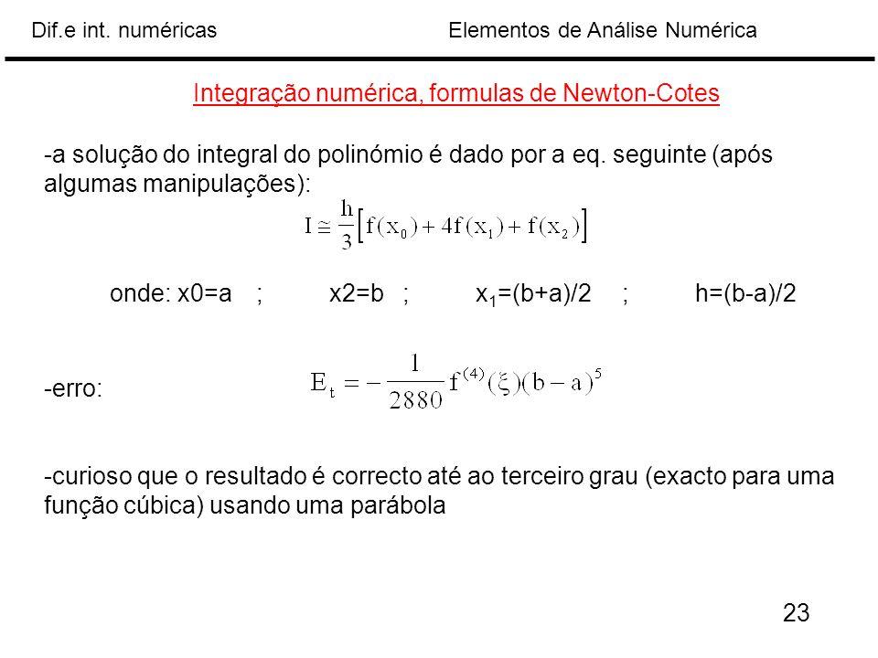 Elementos de Análise NuméricaDif.e int. numéricas Integração numérica, formulas de Newton-Cotes -a solução do integral do polinómio é dado por a eq. s