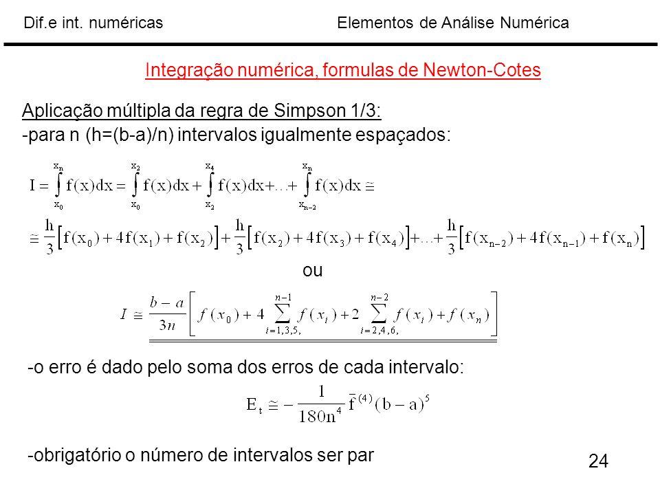 Elementos de Análise NuméricaDif.e int. numéricas Aplicação múltipla da regra de Simpson 1/3: -para n (h=(b-a)/n) intervalos igualmente espaçados: Int