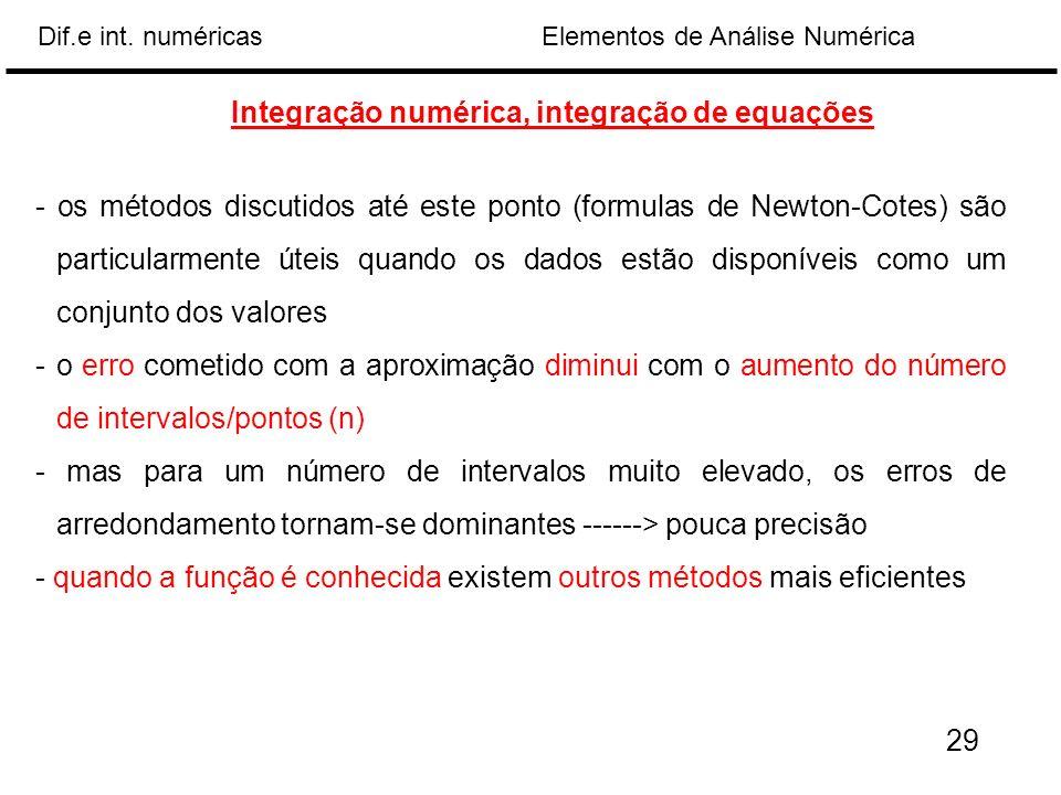 Elementos de Análise NuméricaDif.e int. numéricas Integração numérica, integração de equações - os métodos discutidos até este ponto (formulas de Newt