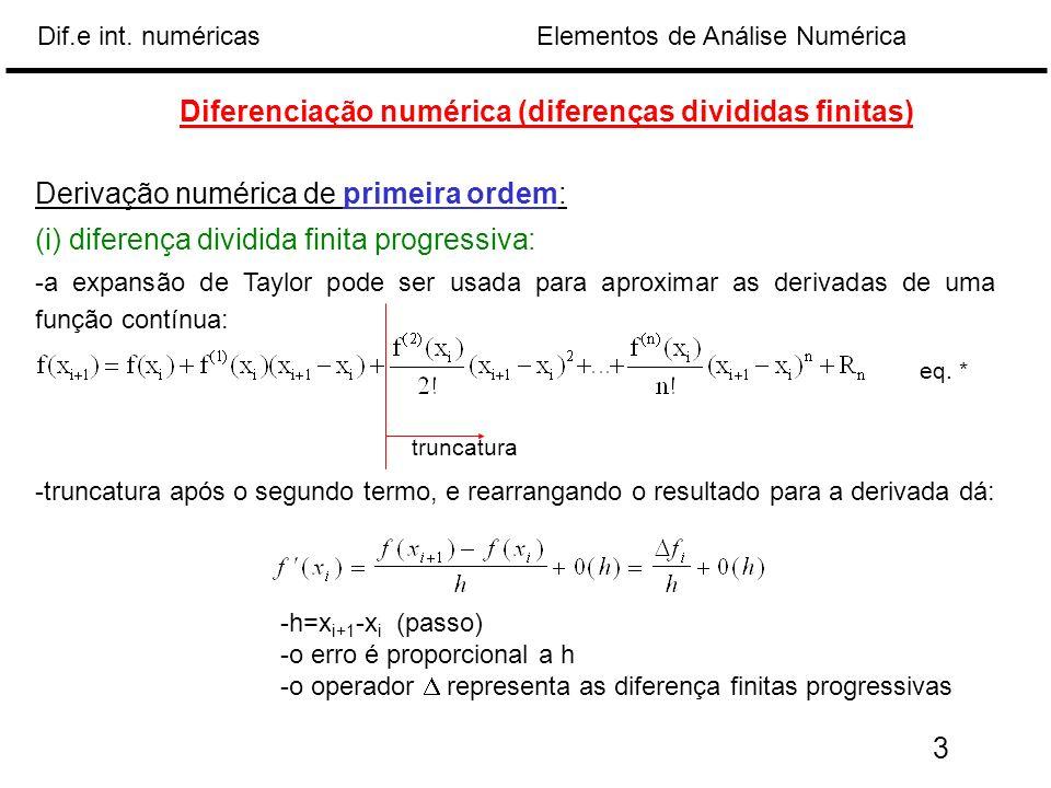 Elementos de Análise NuméricaDif.e int. numéricas Diferenciação numérica (diferenças divididas finitas) Derivação numérica de primeira ordem: (i) dife