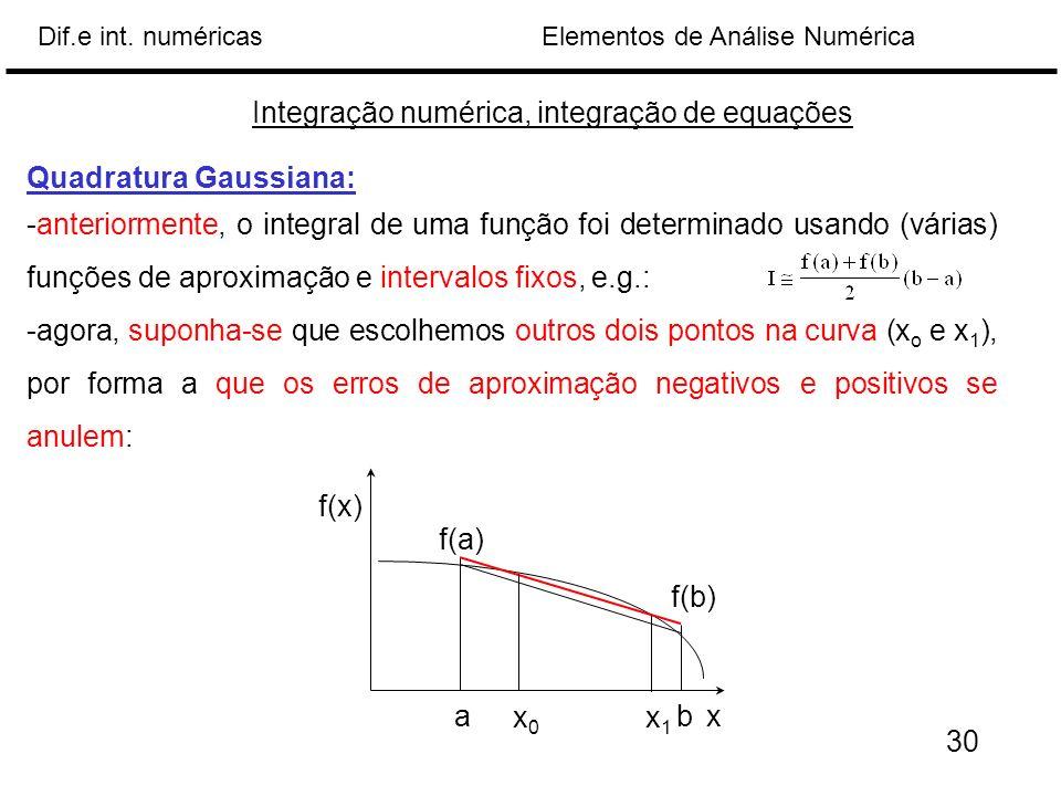 Elementos de Análise NuméricaDif.e int. numéricas Integração numérica, integração de equações Quadratura Gaussiana: -anteriormente, o integral de uma