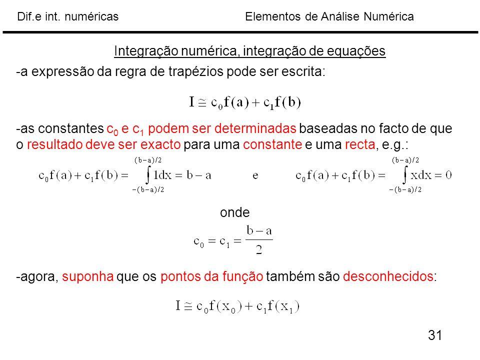 Elementos de Análise NuméricaDif.e int. numéricas -a expressão da regra de trapézios pode ser escrita: -as constantes c 0 e c 1 podem ser determinadas