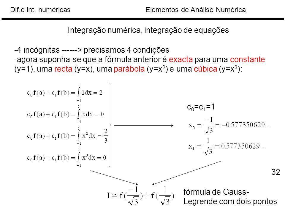 Elementos de Análise NuméricaDif.e int. numéricas Integração numérica, integração de equações -4 incógnitas ------> precisamos 4 condições -agora supo
