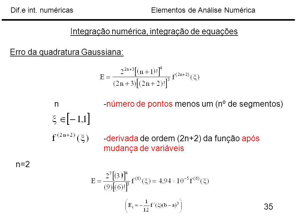 Elementos de Análise NuméricaDif.e int. numéricas Integração numérica, integração de equações Erro da quadratura Gaussiana: n-número de pontos menos u
