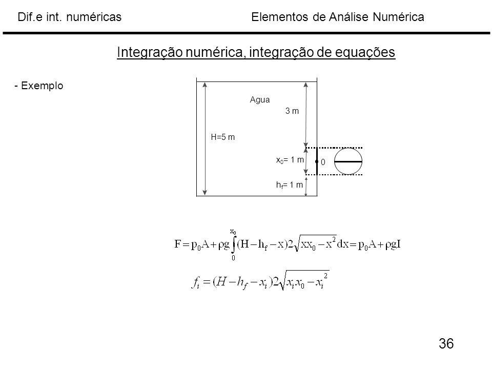 Elementos de Análise NuméricaDif.e int. numéricas Integração numérica, integração de equações - Exemplo H=5 m 3 m x 0 = 1 m Agua 0 h f = 1 m 36