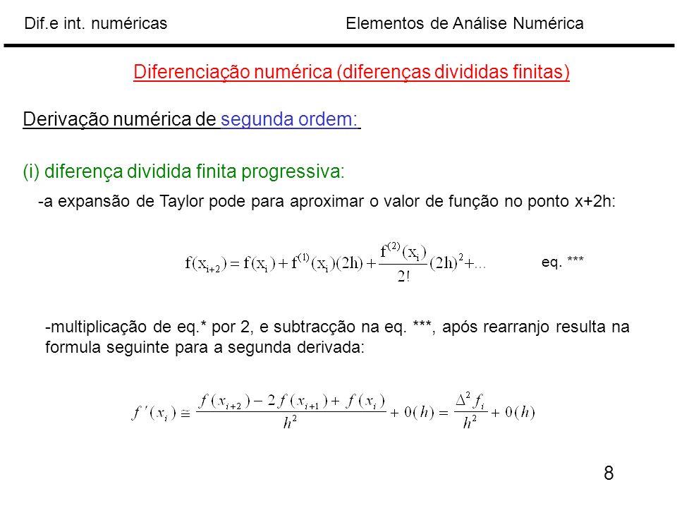 Elementos de Análise NuméricaDif.e int. numéricas Diferenciação numérica (diferenças divididas finitas) Derivação numérica de segunda ordem: (i) difer