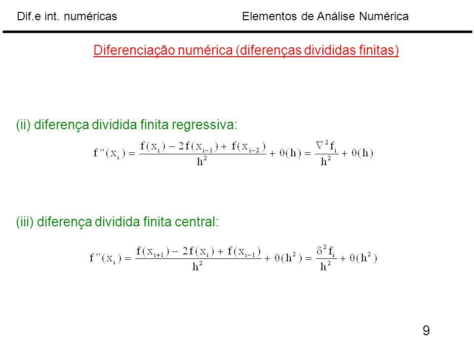 Elementos de Análise NuméricaDif.e int. numéricas (ii) diferença dividida finita regressiva: Diferenciação numérica (diferenças divididas finitas) (ii