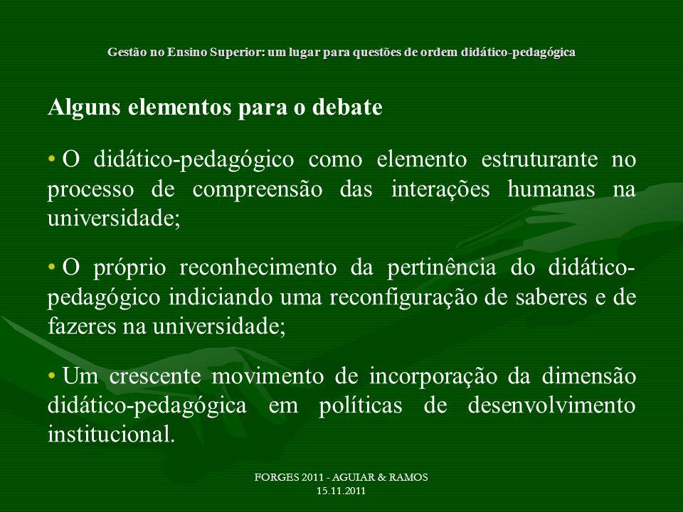 Gestão no Ensino Superior: um lugar para questões de ordem didático-pedagógica Alguns elementos para o debate O didático-pedagógico como elemento estr