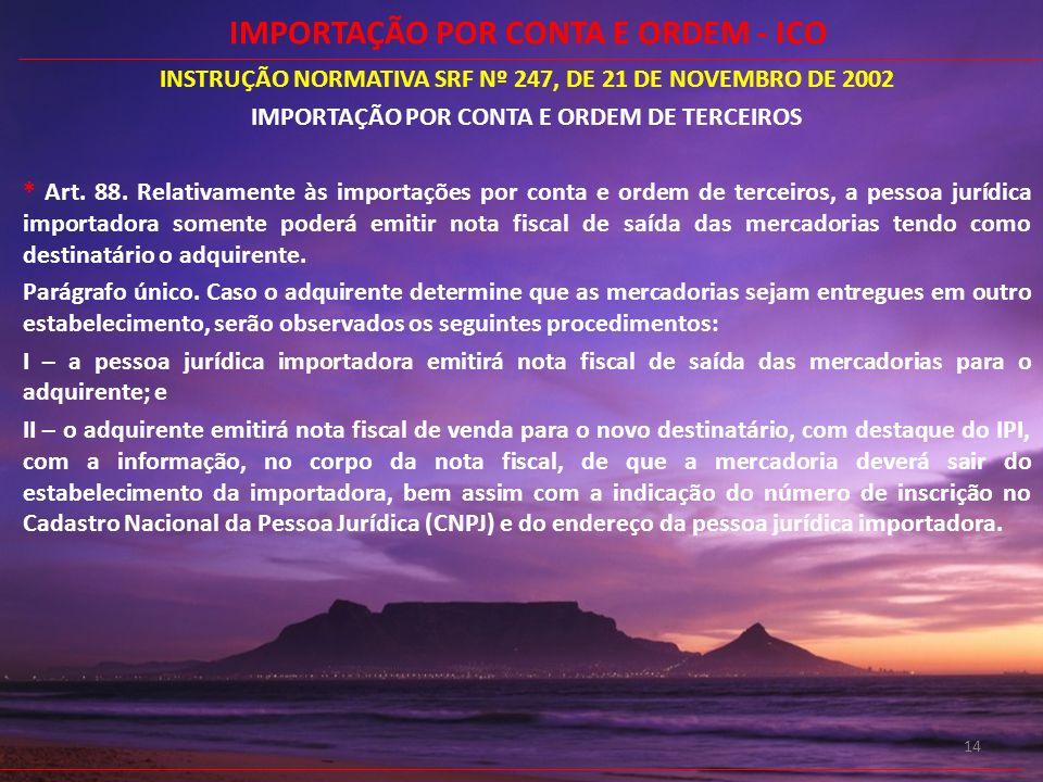 14 INSTRUÇÃO NORMATIVA SRF Nº 247, DE 21 DE NOVEMBRO DE 2002 IMPORTAÇÃO POR CONTA E ORDEM DE TERCEIROS * Art. 88. Relativamente às importações por con
