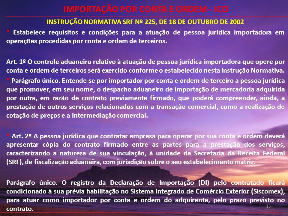 15 INSTRUÇÃO NORMATIVA SRF Nº 225, DE 18 DE OUTUBRO DE 2002 * Estabelece requisitos e condições para a atuação de pessoa jurídica importadora em opera