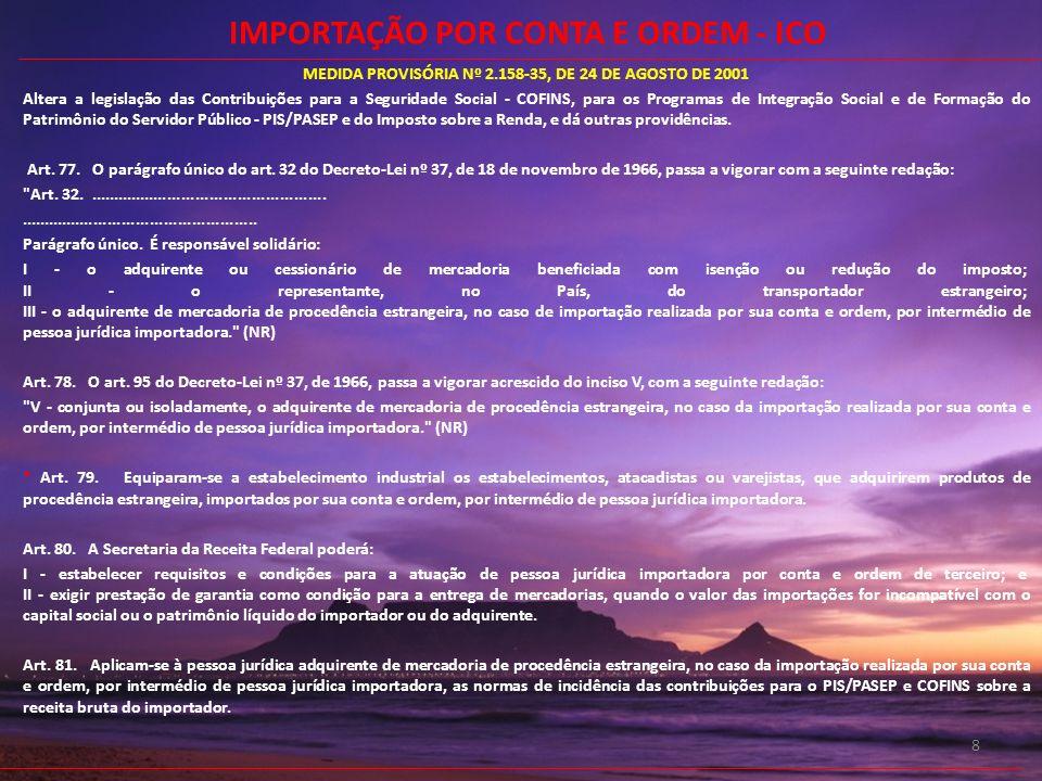 8 MEDIDA PROVISÓRIA Nº 2.158-35, DE 24 DE AGOSTO DE 2001 Altera a legislação das Contribuições para a Seguridade Social - COFINS, para os Programas de