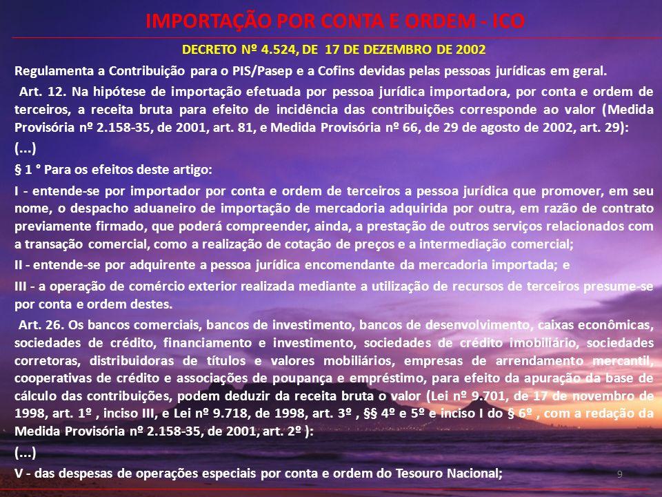 9 DECRETO Nº 4.524, DE 17 DE DEZEMBRO DE 2002 Regulamenta a Contribuição para o PIS/Pasep e a Cofins devidas pelas pessoas jurídicas em geral. Art. 12