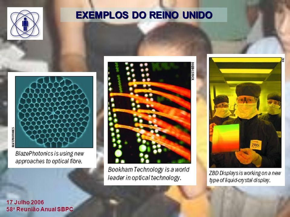 17 Julho 2006 58 a Reunião Anual SBPC EXEMPLOS DO REINO UNIDO