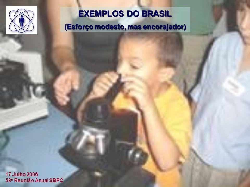 17 Julho 2006 58 a Reunião Anual SBPC EXEMPLOS DO BRASIL (Esforço modesto, mas encorajador)