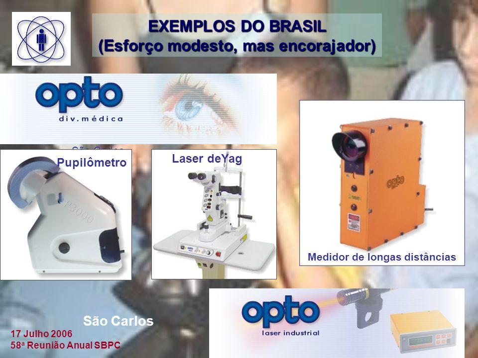 17 Julho 2006 58 a Reunião Anual SBPC São Carlos Pupilômetro Laser deYag Medidor de longas distâncias São Carlos EXEMPLOS DO BRASIL (Esforço modesto, mas encorajador)
