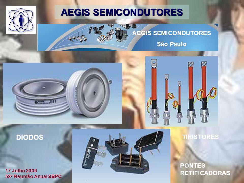 17 Julho 2006 58 a Reunião Anual SBPC AEGIS SEMICONDUTORES São Paulo DIODOS TIRISTORES PONTES RETIFICADORAS