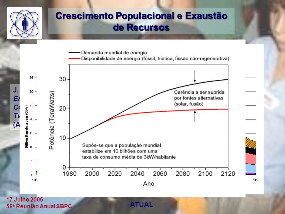 17 Julho 2006 58 a Reunião Anual SBPC Crescimento Populacional e Exaustão de Recursos J.