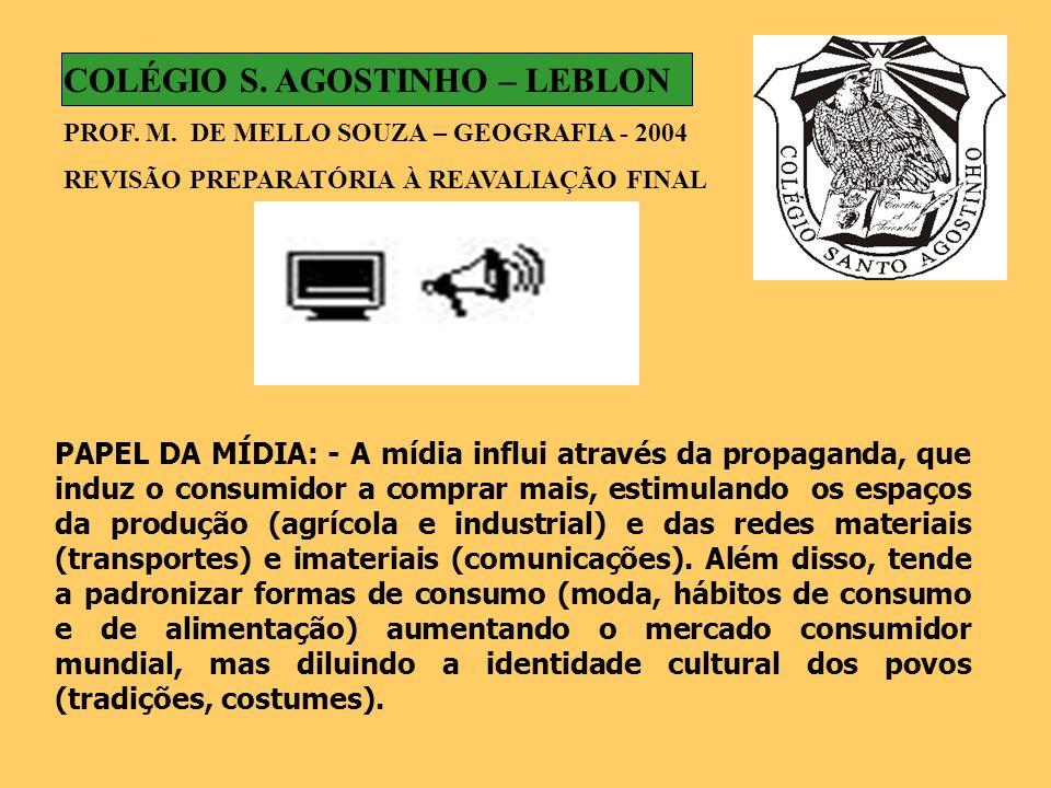 PAPEL DA MÍDIA: - A mídia influi através da propaganda, que induz o consumidor a comprar mais, estimulando os espaços da produção (agrícola e industri