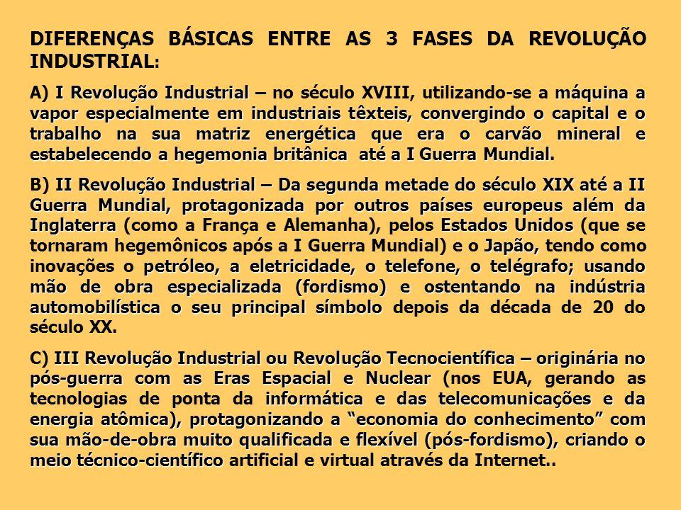 DIFERENÇAS BÁSICAS ENTRE AS 3 FASES DA REVOLUÇÃO INDUSTRIAL : I Revolução Industrialmáquina a vapor especialmente em industriais têxteis, convergindo