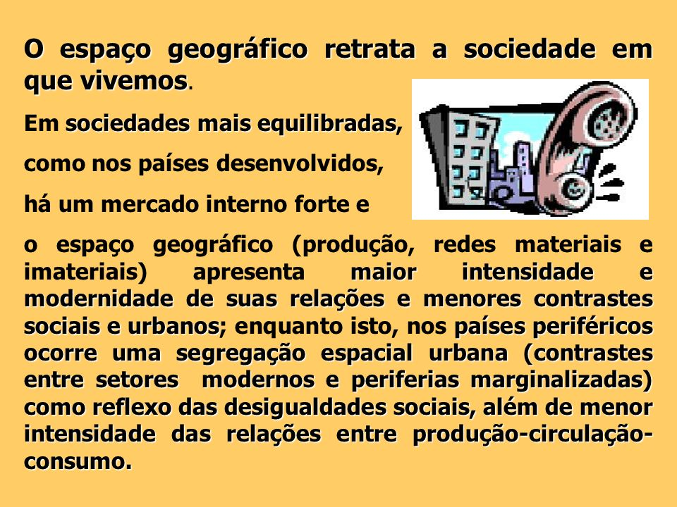 O espaço geográfico retrata a sociedade em que vivemos O espaço geográfico retrata a sociedade em que vivemos. sociedades mais equilibradas Em socieda