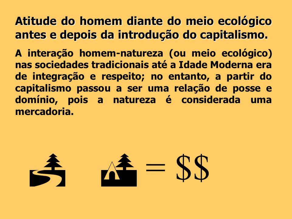 Atitude do homem diante do meio ecológico antes e depois da introdução do capitalismo. A interação homem-natureza (ou meio ecológico) nas sociedades t