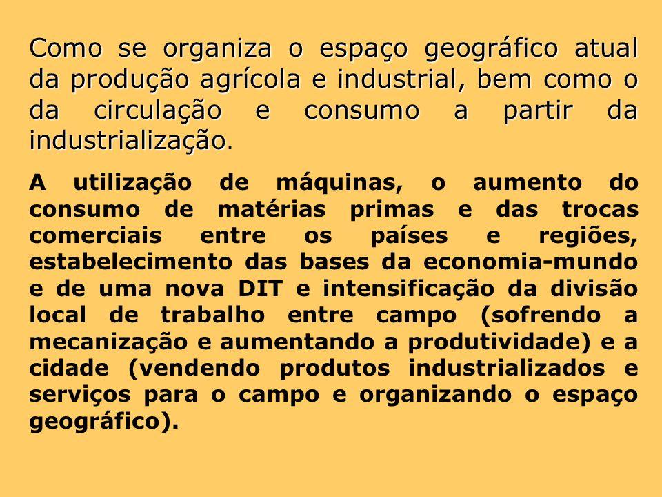 Como se organiza o espaço geográfico atual da produção agrícola e industrial, bem como o da circulação e consumo a partir da industrialização Como se