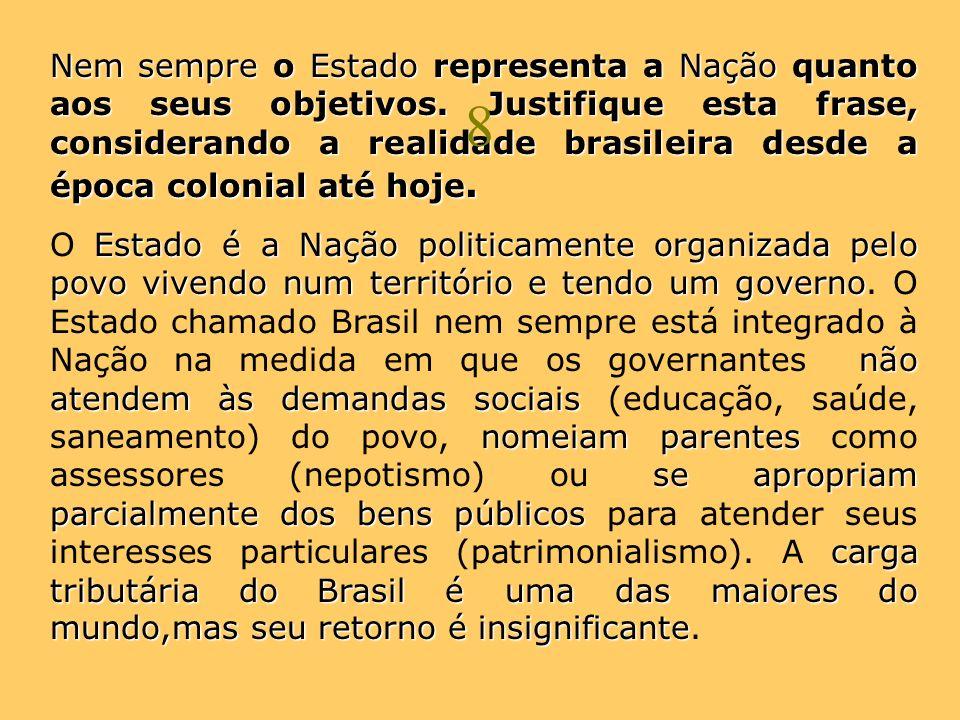 Nem sempre o Estado representa a Nação quanto aos seus objetivos. Justifique esta frase, considerando a realidade brasileira desde a época colonial at