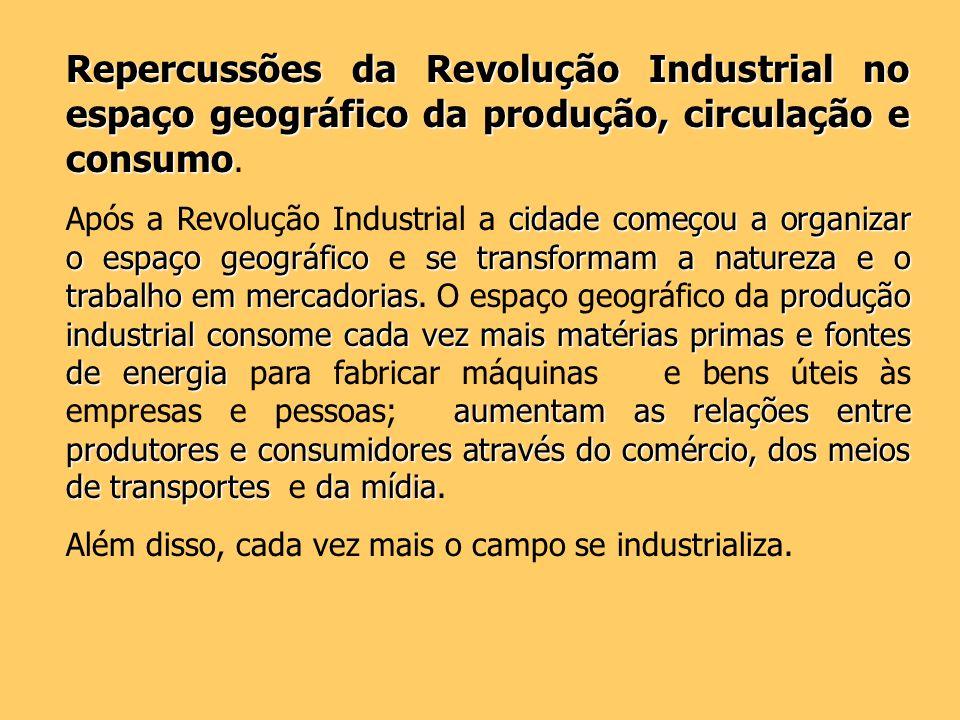 Repercussões da Revolução Industrial no espaço geográfico da produção, circulação e consumo Repercussões da Revolução Industrial no espaço geográfico