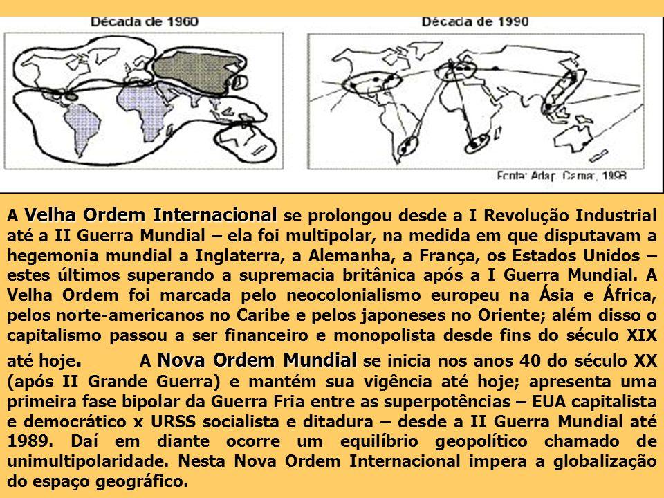Velha Ordem Internacional Nova Ordem Mundial A Velha Ordem Internacional se prolongou desde a I Revolução Industrial até a II Guerra Mundial – ela foi