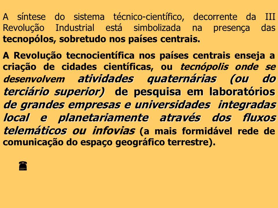 A síntese do sistema técnico-científico, decorrente da III Revolução Industrial está simbolizada na presença das tecnopólos, sobretudo nos países cent