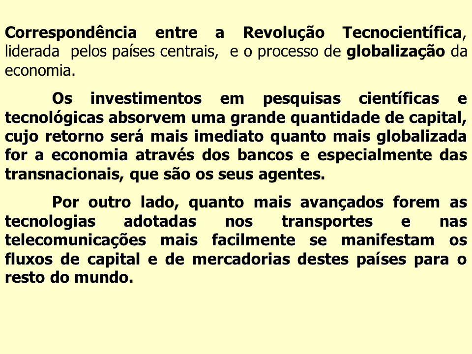 Correspondência entre a Revolução Tecnocientífica, liderada pelos países centrais, e o processo de globalização da economia. investimentos em pesquisa