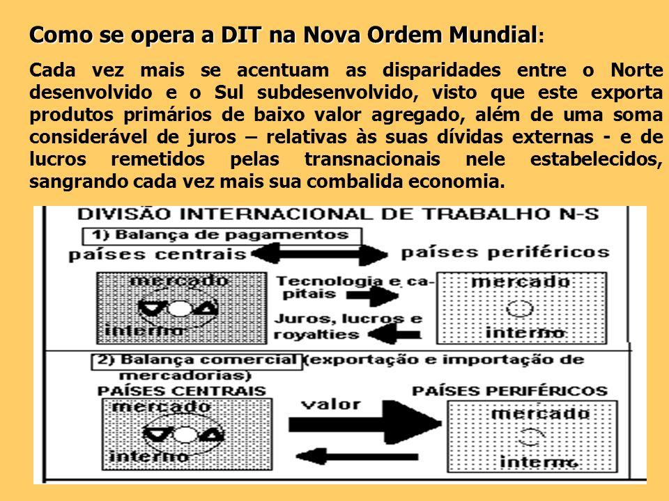 Como se opera a DIT na Nova Ordem Mundial Como se opera a DIT na Nova Ordem Mundial : Cada vez mais se acentuam as disparidades entre o Norte desenvol