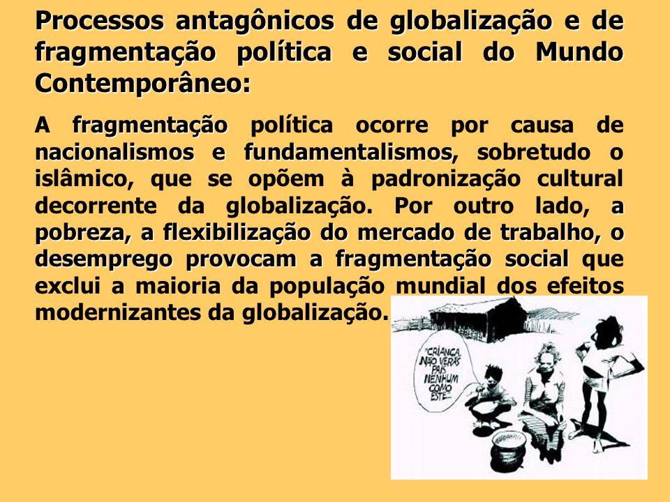 Processos antagônicos de globalização e de fragmentação política e social do Mundo Contemporâneo: fragmentação nacionalismos e fundamentalismos a pobr