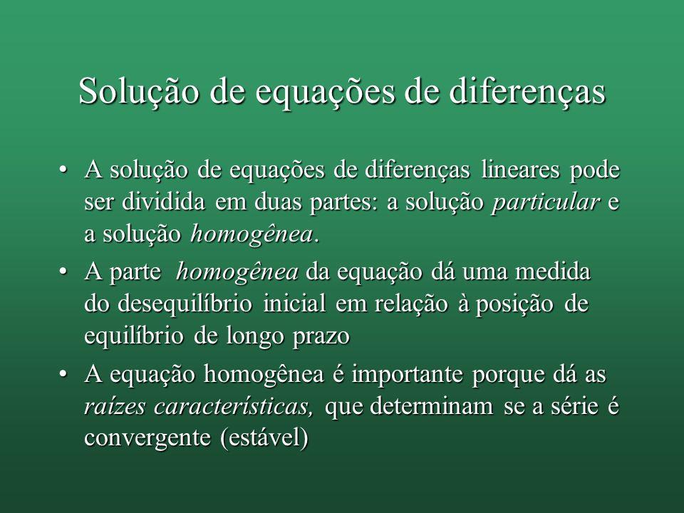 Solução de equações de diferenças A solução de equações de diferenças lineares pode ser dividida em duas partes: a solução particular e a solução homo