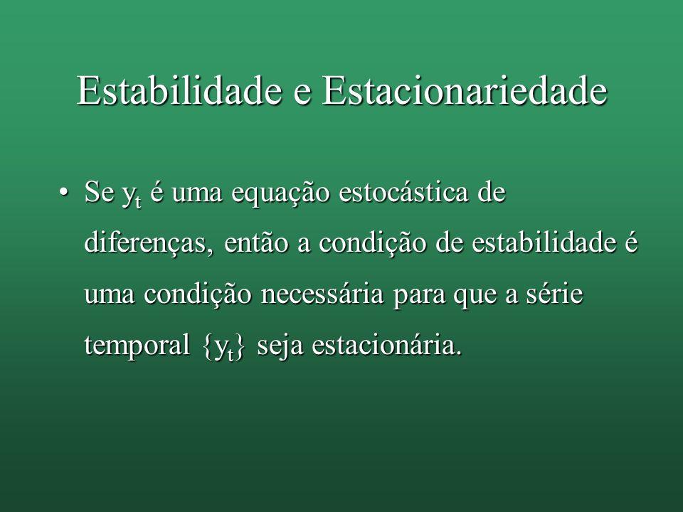 Estabilidade e Estacionariedade Se y t é uma equação estocástica de diferenças, então a condição de estabilidade é uma condição necessária para que a