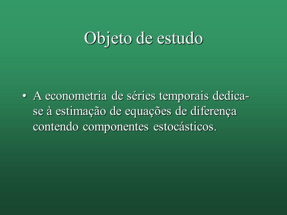 Objeto de estudo A econometria de séries temporais dedica- se à estimação de equações de diferença contendo componentes estocásticos.A econometria de