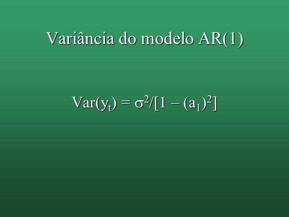 Variância do modelo AR(1) Var(y t ) = 2 /[1 – (a 1 ) 2 ]