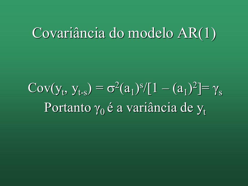 Covariância do modelo AR(1) Cov(y t, y t-s ) = 2 (a 1 ) s /[1 – (a 1 ) 2 ]= γ s Portanto γ 0 é a variância de y t