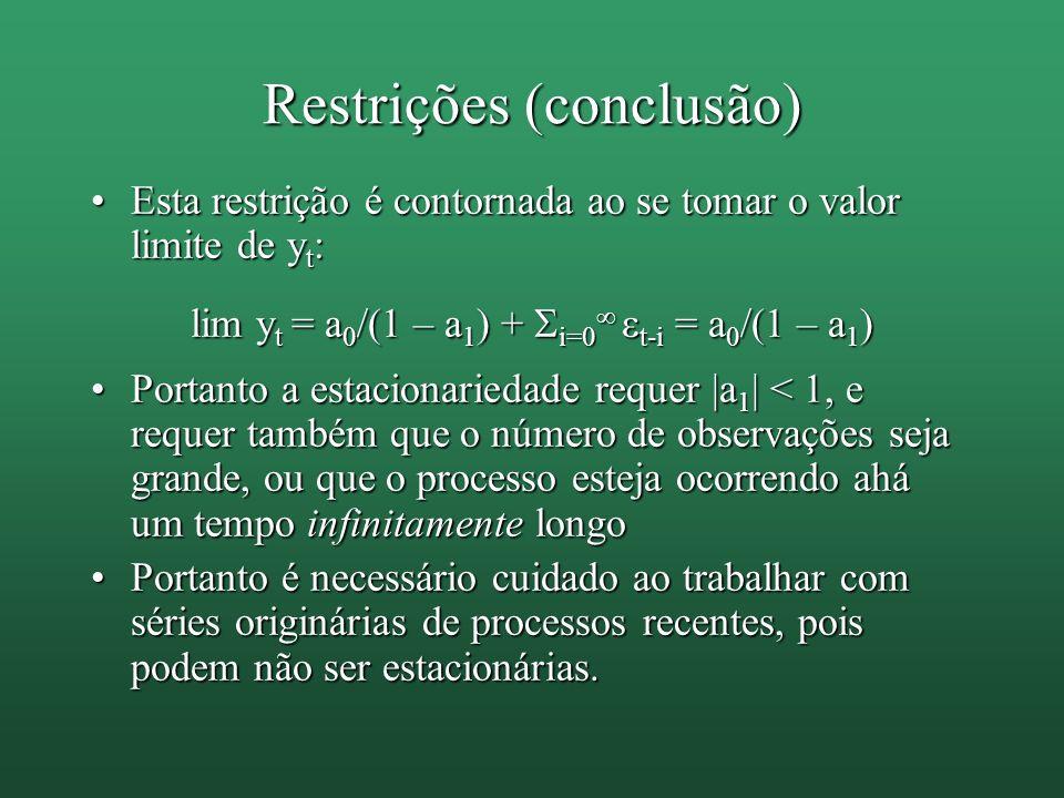 Restrições (conclusão) Esta restrição é contornada ao se tomar o valor limite de y t :Esta restrição é contornada ao se tomar o valor limite de y t :