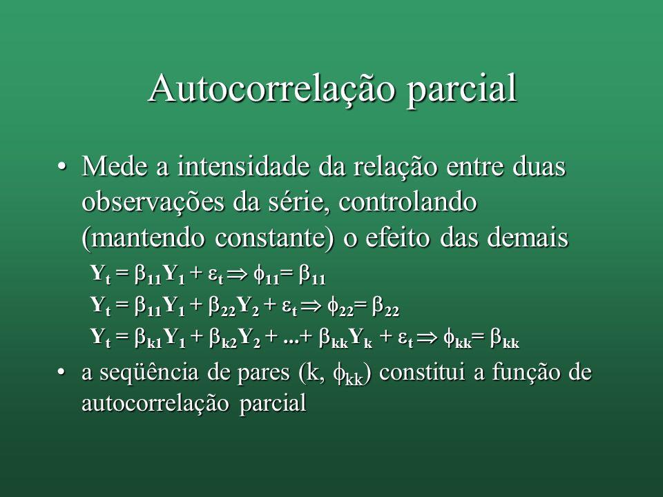 Autocorrelação parcial Mede a intensidade da relação entre duas observações da série, controlando (mantendo constante) o efeito das demaisMede a inten