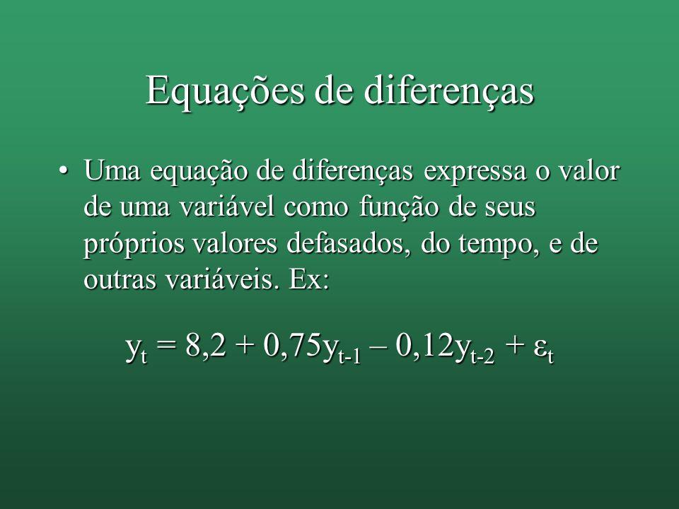 Equações de diferenças Uma equação de diferenças expressa o valor de uma variável como função de seus próprios valores defasados, do tempo, e de outra