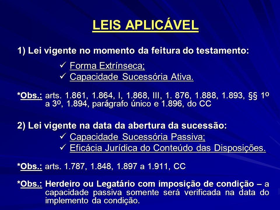 LEIS APLICÁVEL 1) Lei vigente no momento da feitura do testamento: Forma Extrínseca; Forma Extrínseca; Capacidade Sucessória Ativa.