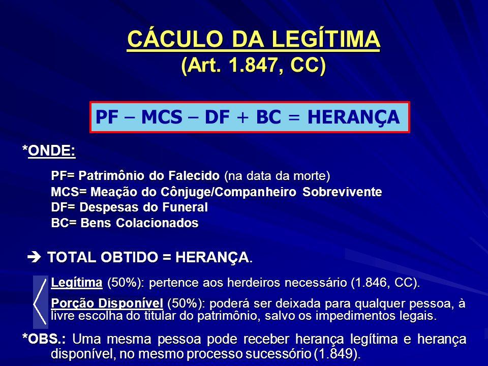 CÁCULO DA LEGÍTIMA (Art.