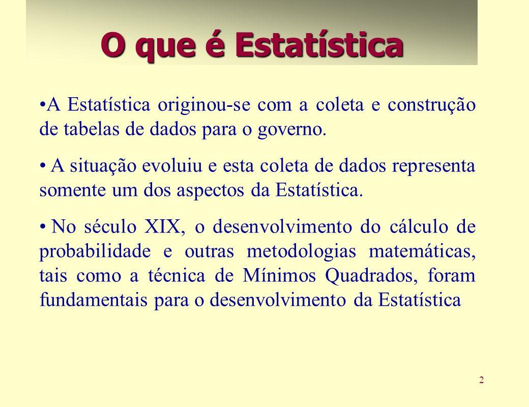 2 O que é Estatística A Estatística originou-se com a coleta e construção de tabelas de dados para o governo. A situação evoluiu e esta coleta de dado