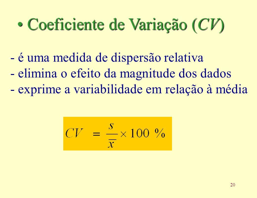 20 - é uma medida de dispersão relativa - elimina o efeito da magnitude dos dados - exprime a variabilidade em relação à média Coeficiente de Variação (CV) Coeficiente de Variação (CV)