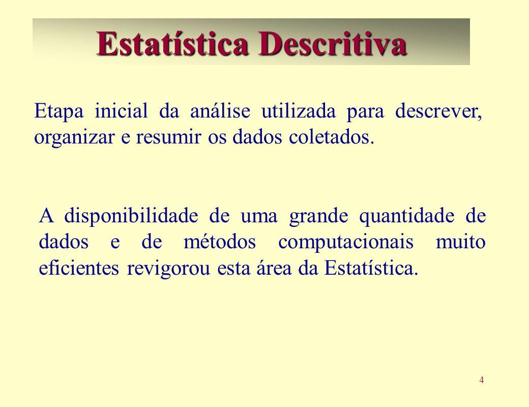 4 Estatística Descritiva A disponibilidade de uma grande quantidade de dados e de métodos computacionais muito eficientes revigorou esta área da Estatística.