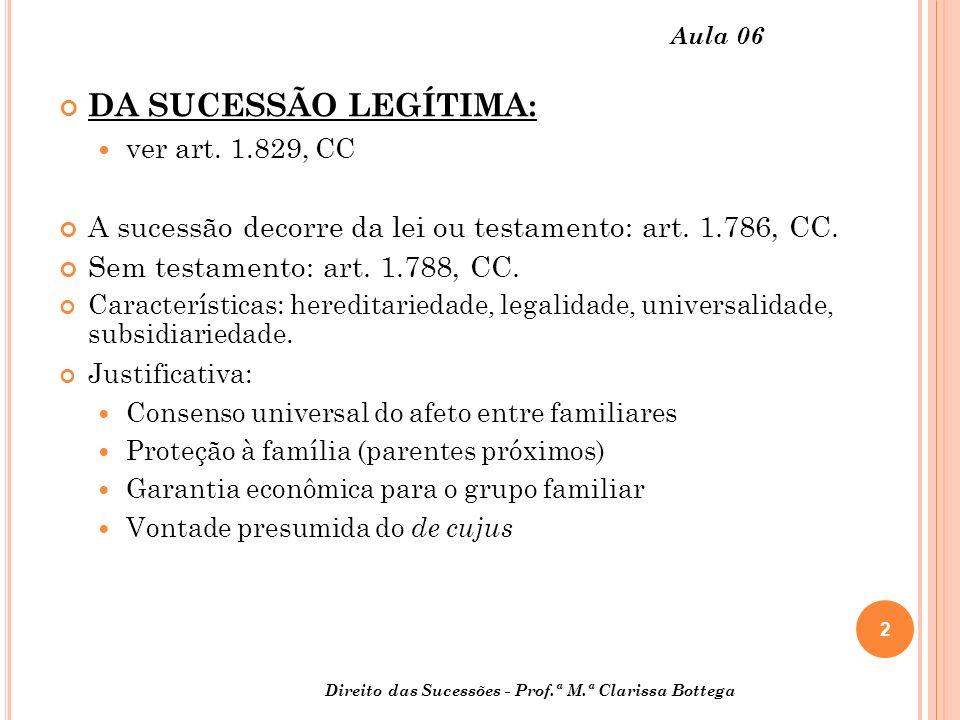 2 Aula 06 DA SUCESSÃO LEGÍTIMA: ver art.1.829, CC A sucessão decorre da lei ou testamento: art.