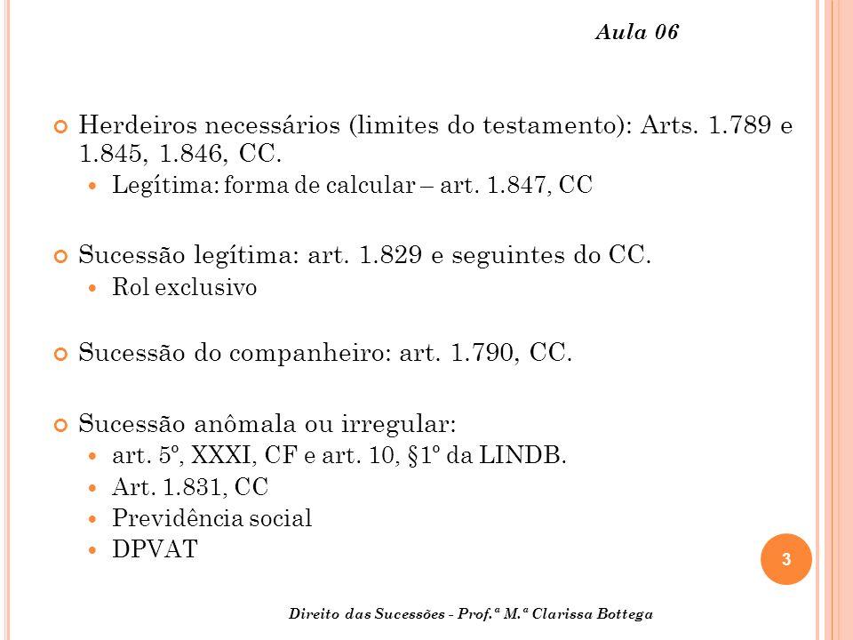 3 Aula 06 Herdeiros necessários (limites do testamento): Arts.